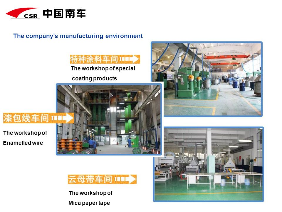 The companys manufacturing environment The workshop of special coating products The workshop of Enamelled wire The workshop of Mica paper tape
