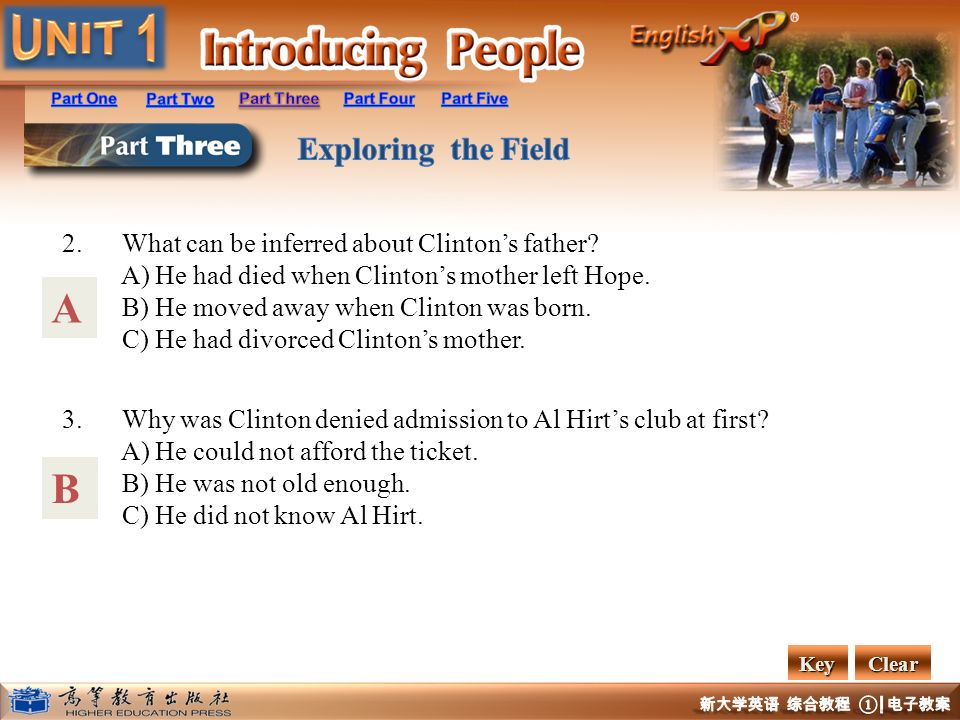 2. What can be inferred about Clintons father? A) He had died when Clintons mother left Hope. B) He moved away when Clinton was born. C) He had divorc