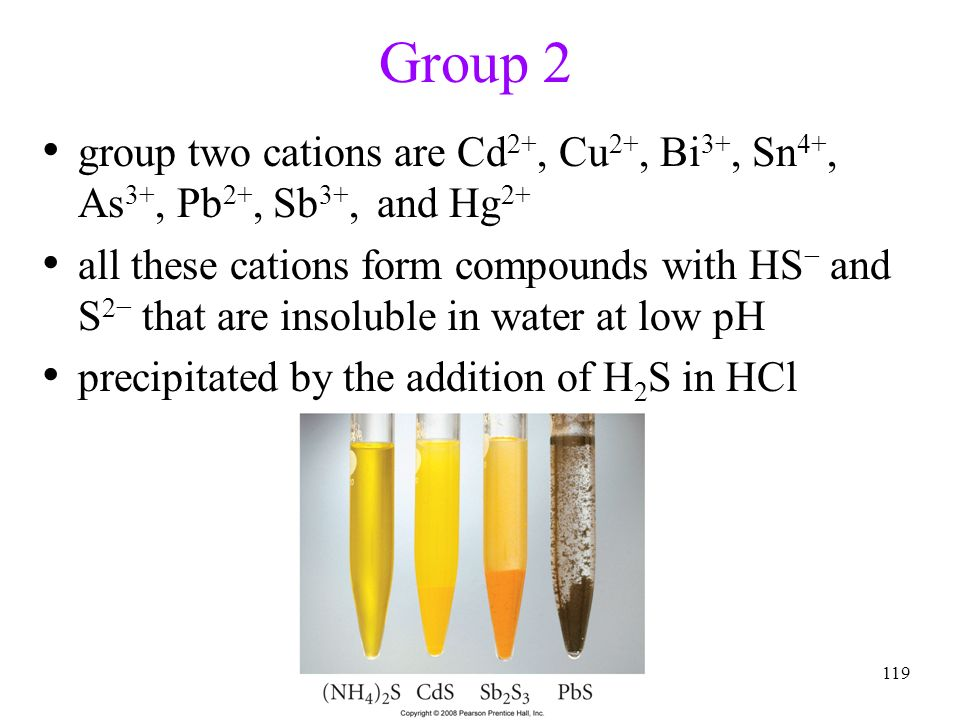 119 Group 2 group two cations are Cd 2+, Cu 2+, Bi 3+, Sn 4+, As 3+, Pb 2+, Sb 3+, and Hg 2+ all these cations form compounds with HS and S 2 that are