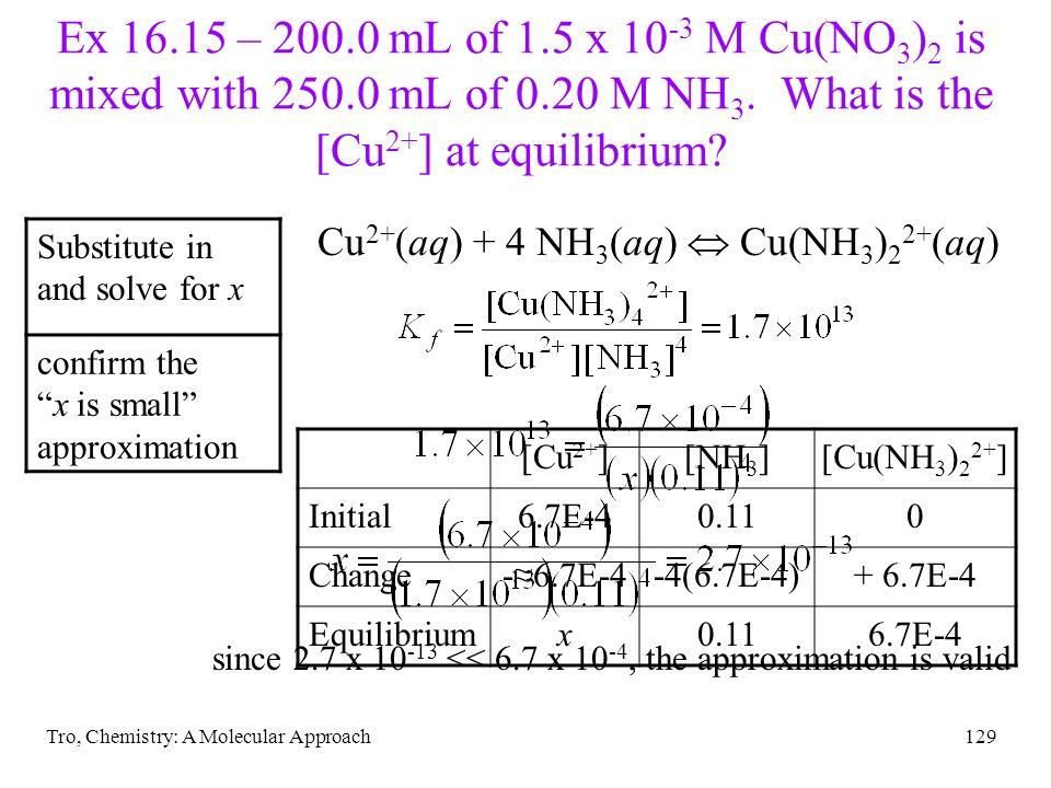 Tro, Chemistry: A Molecular Approach129 Ex 16.15 – 200.0 mL of 1.5 x 10 -3 M Cu(NO 3 ) 2 is mixed with 250.0 mL of 0.20 M NH 3. What is the [Cu 2+ ] a