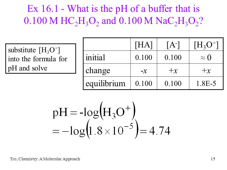 Tro, Chemistry: A Molecular Approach15 Ex 16.1 - What is the pH of a buffer that is 0.100 M HC 2 H 3 O 2 and 0.100 M NaC 2 H 3 O 2 ? substitute [H 3 O
