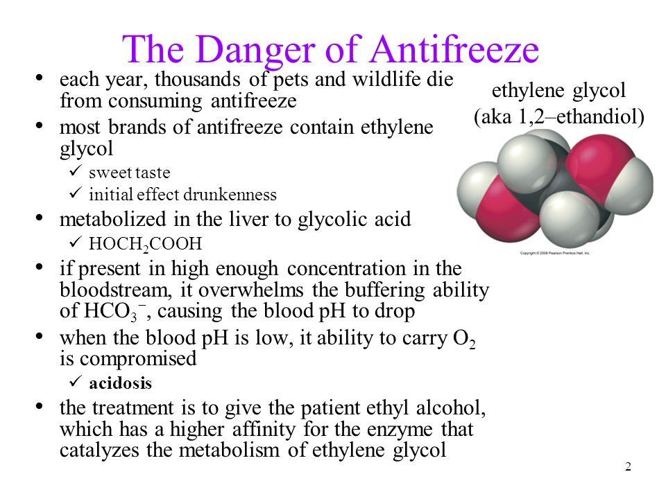 2 The Danger of Antifreeze each year, thousands of pets and wildlife die from consuming antifreeze most brands of antifreeze contain ethylene glycol s