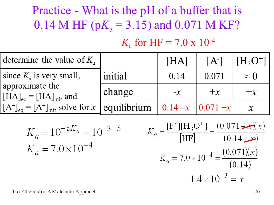 Tro, Chemistry: A Molecular Approach20 determine the value of K a since K a is very small, approximate the [HA] eq = [HA] init and [A ] eq = [A ] init