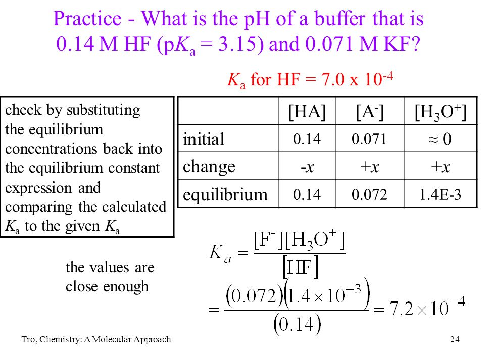 Tro, Chemistry: A Molecular Approach24 Practice - What is the pH of a buffer that is 0.14 M HF (pK a = 3.15) and 0.071 M KF? check by substituting the