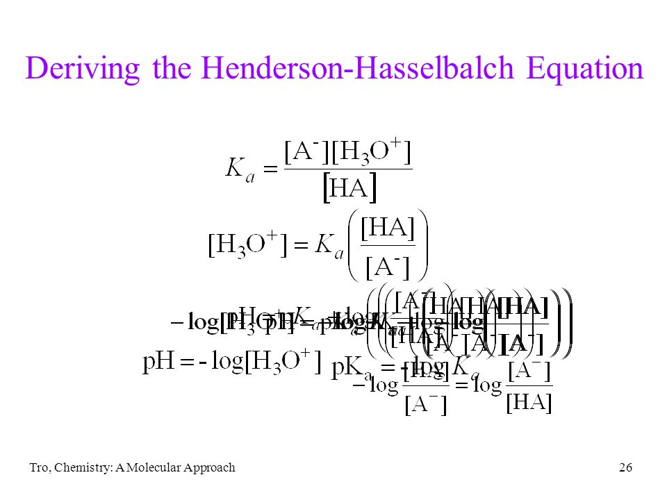 Tro, Chemistry: A Molecular Approach26 Deriving the Henderson-Hasselbalch Equation
