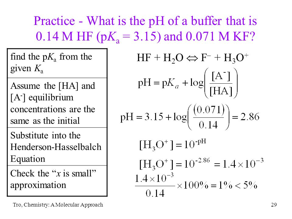 Tro, Chemistry: A Molecular Approach29 Practice - What is the pH of a buffer that is 0.14 M HF (pK a = 3.15) and 0.071 M KF? find the pK a from the gi