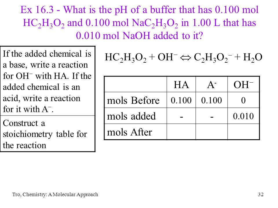 Tro, Chemistry: A Molecular Approach32 Ex 16.3 - What is the pH of a buffer that has 0.100 mol HC 2 H 3 O 2 and 0.100 mol NaC 2 H 3 O 2 in 1.00 L that