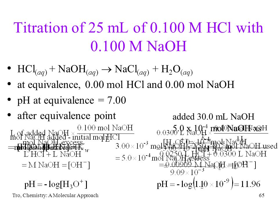Tro, Chemistry: A Molecular Approach65 Titration of 25 mL of 0.100 M HCl with 0.100 M NaOH HCl (aq) + NaOH (aq) NaCl (aq) + H 2 O (aq) at equivalence,
