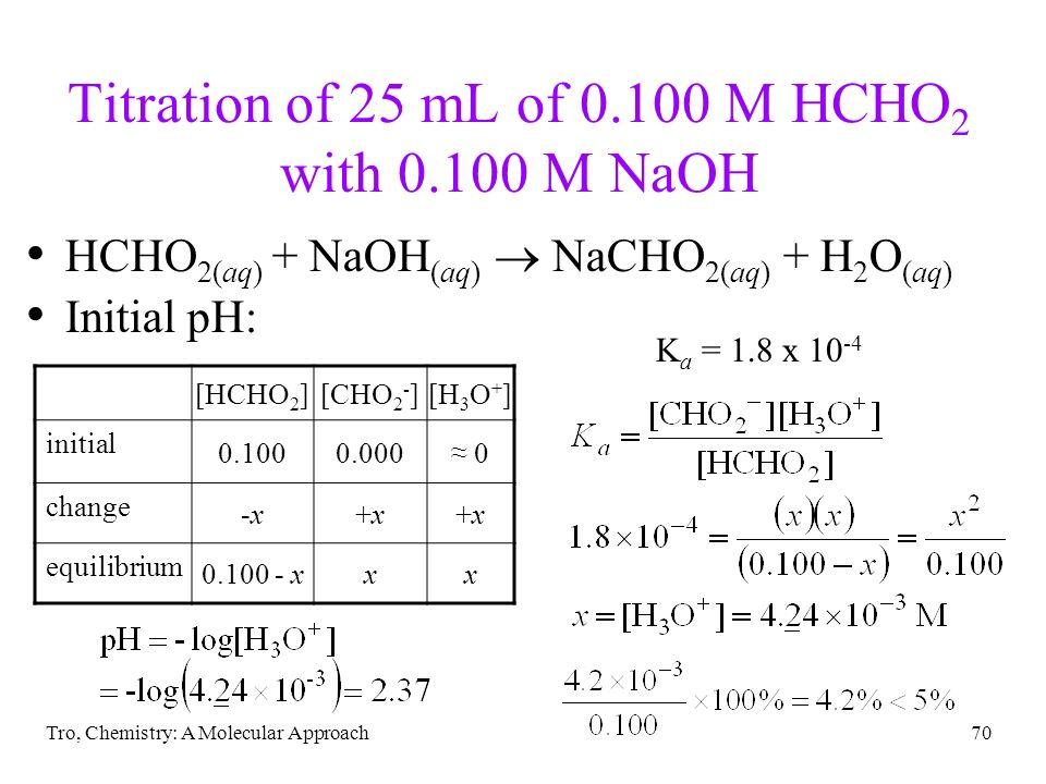 Tro, Chemistry: A Molecular Approach70 Titration of 25 mL of 0.100 M HCHO 2 with 0.100 M NaOH HCHO 2(aq) + NaOH (aq) NaCHO 2(aq) + H 2 O (aq) Initial