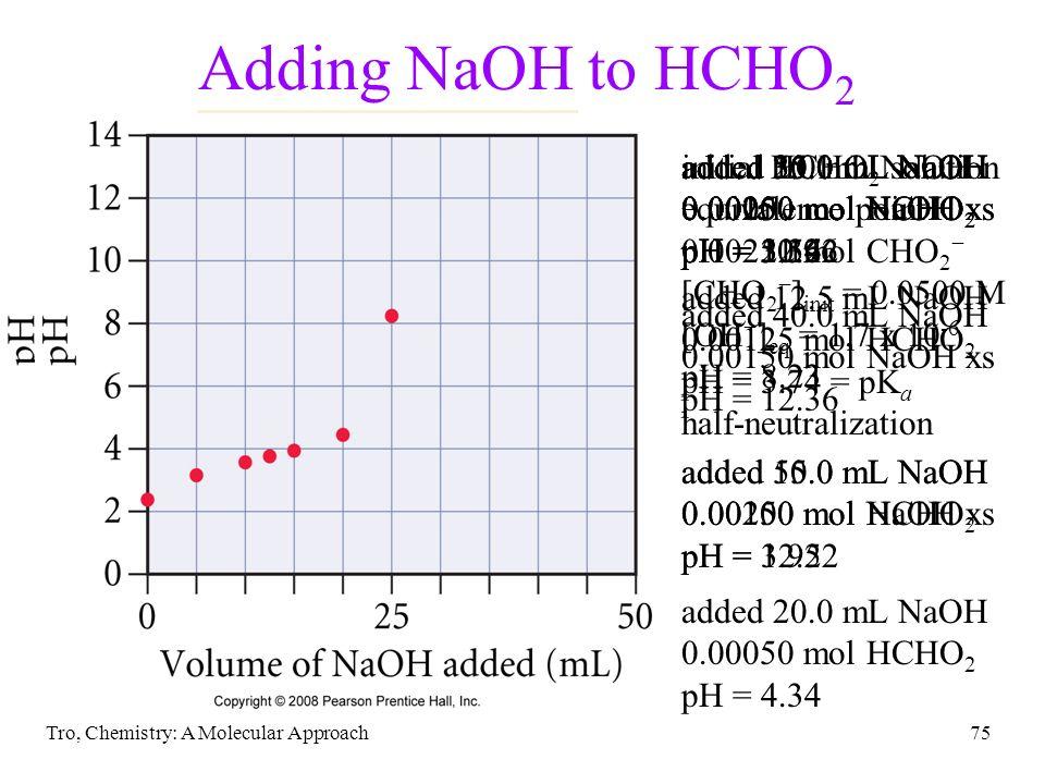 Tro, Chemistry: A Molecular Approach75 added 30.0 mL NaOH 0.00050 mol NaOH xs pH = 11.96 added 35.0 mL NaOH 0.00100 mol NaOH xs pH = 12.22 Adding NaOH