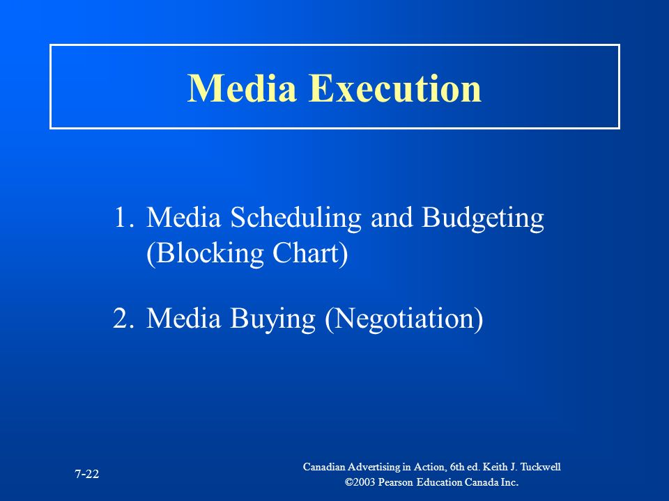 Canadian Advertising in Action, 6th ed. Keith J. Tuckwell ©2003 Pearson Education Canada Inc. 7-22 Media Execution 1.Media Scheduling and Budgeting (B
