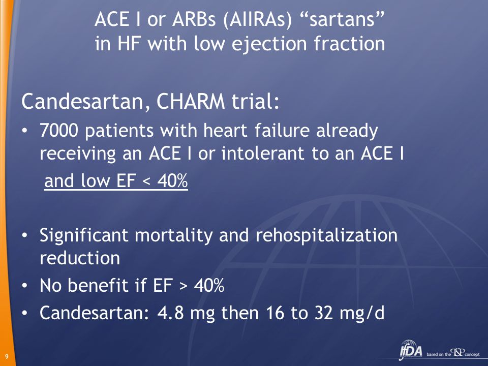 9 ACE I or ARBs (AIIRAs) sartans in HF with low ejection fraction Candesartan, CHARM trial: 7000 patients with heart failure already receiving an ACE