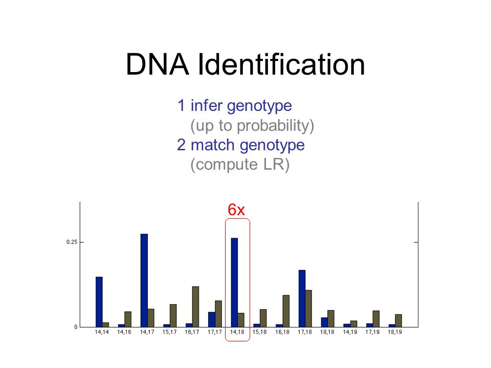 DNA Identification 1 infer genotype (up to probability) 2 match genotype (compute LR) 6x