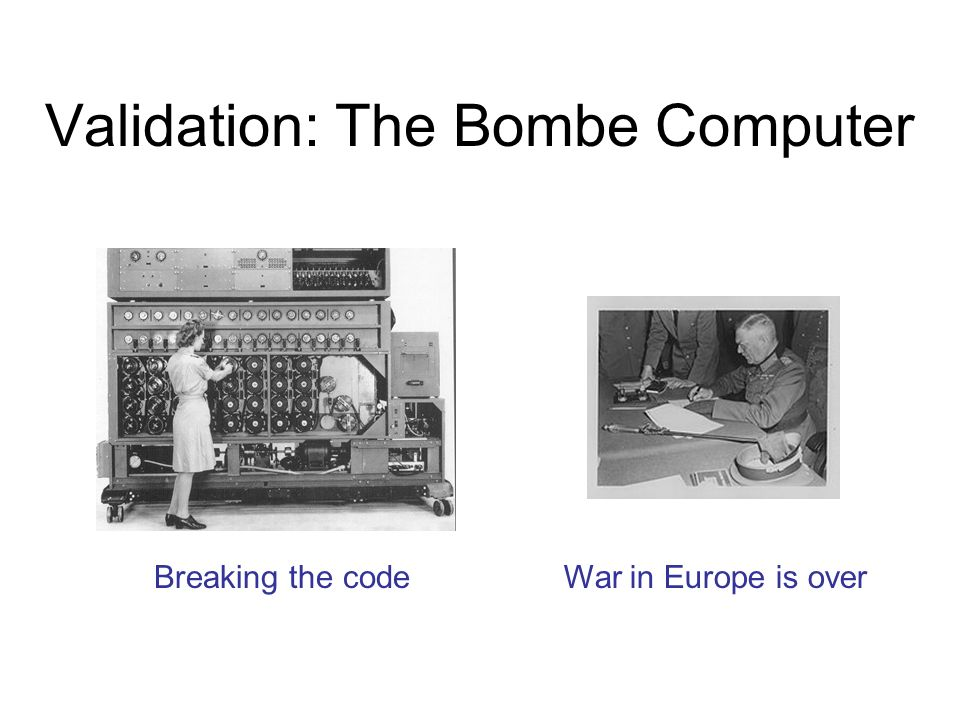 Validation: The Bombe Computer Breaking the codeWar in Europe is over