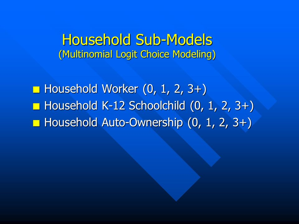 Household Sub-Models (Multinomial Logit Choice Modeling) n Household Worker (0, 1, 2, 3+) n Household K-12 Schoolchild (0, 1, 2, 3+) n Household Auto-Ownership (0, 1, 2, 3+)