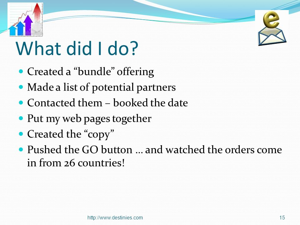 What did I do? Created a bundle offering Made a list of potential partners Contacted them – booked the date Put my web pages together Created the copy