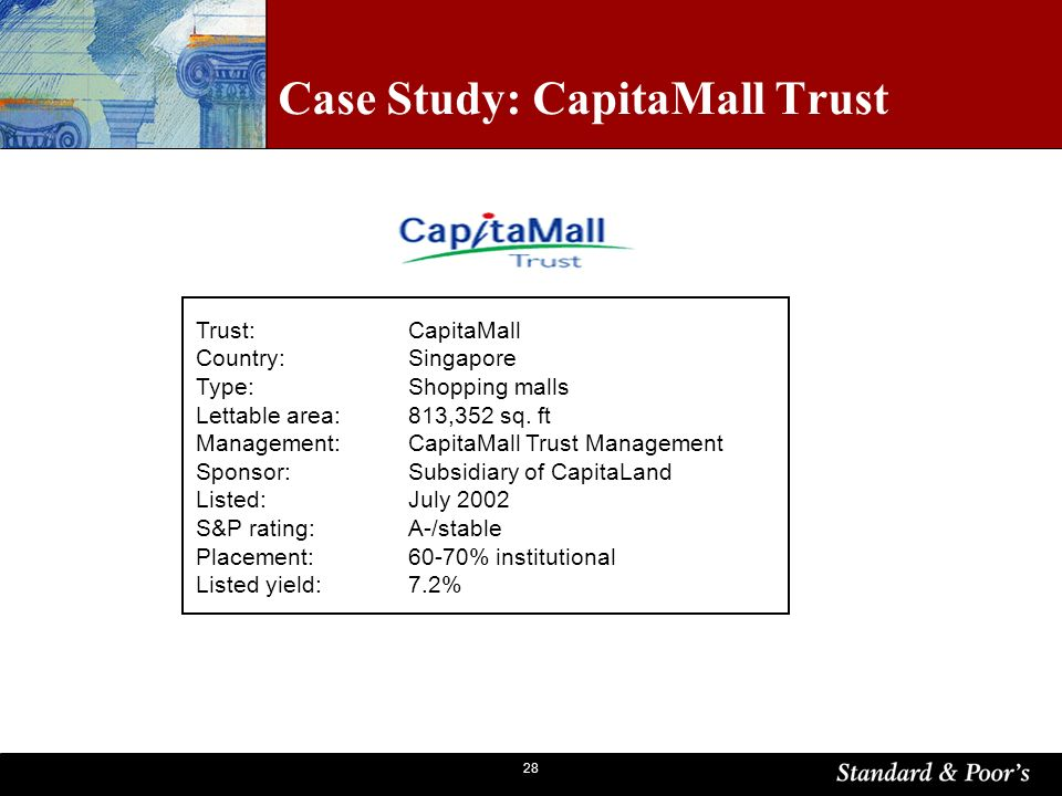 28 Case Study: CapitaMall Trust Trust: CapitaMall Country: Singapore Type: Shopping malls Lettable area:813,352 sq.