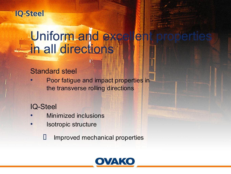 0.150 0.125 0.100 0.075 0.050 0.025 0 Inclusions comparison Total inclusion length per mm² Standard steelIQ-Steel Longitudinal Transverse