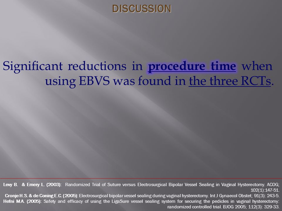 Levy B. & Emery L. (2003): Randomized Trial of Suture versus Electrosurgical Bipolar Vessel Sealing in Vaginal Hysterectomy. ACOG; 102(1):147-51. Cron