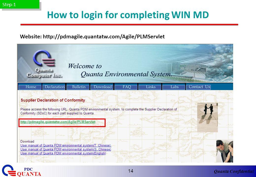 Quanta Confidential QUANTA PDC 14 How to login for completing WIN MD Website: http://pdmagile.quantatw.com/Agile/PLMServlet Step-1