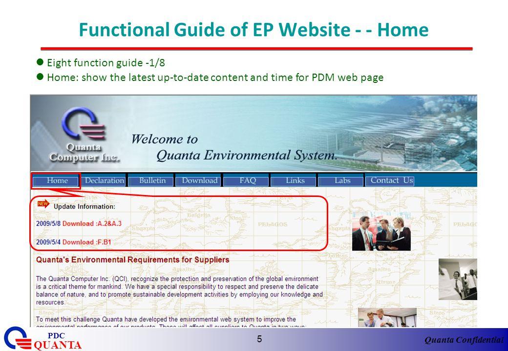 Quanta Confidential QUANTA PDC 6 Functional Guide of EP Website - Declaration Eight function guide -2/8 Declaration: link http:pdmagile.quantatw.com/Agile/PLMServlet to finish MD