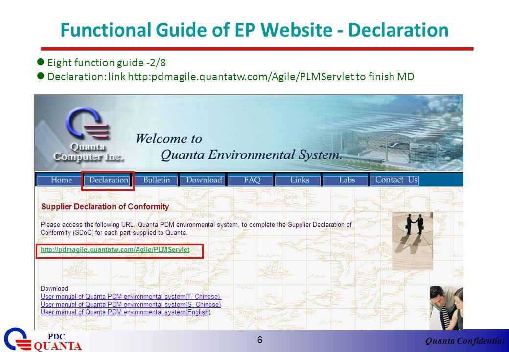 Quanta Confidential QUANTA PDC 6 Functional Guide of EP Website - Declaration Eight function guide -2/8 Declaration: link http:pdmagile.quantatw.com/A