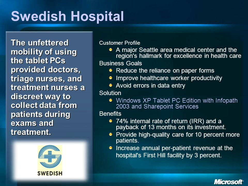 Swedish Hospital Customer Profile A major Seattle area medical center and the region's hallmark for excellence in health care Business Goals Reduce th