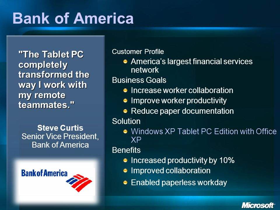 Bank of America Customer Profile Americas largest financial services network Business Goals Increase worker collaboration Improve worker productivity