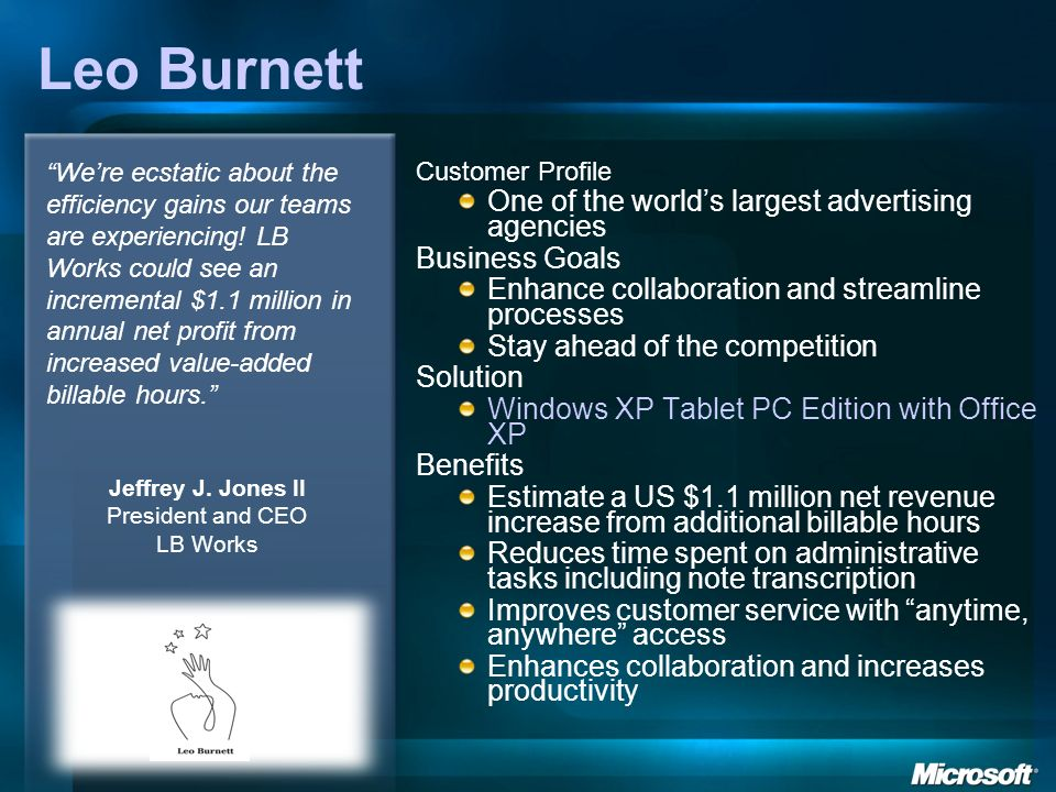 Leo Burnett Customer Profile One of the worlds largest advertising agencies Business Goals Enhance collaboration and streamline processes Stay ahead o