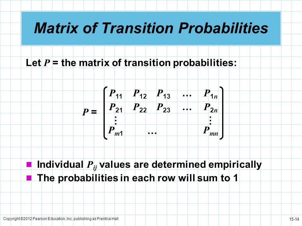 Copyright ©2012 Pearson Education, Inc. publishing as Prentice Hall 15-14 Matrix of Transition Probabilities Let P = the matrix of transition probabil