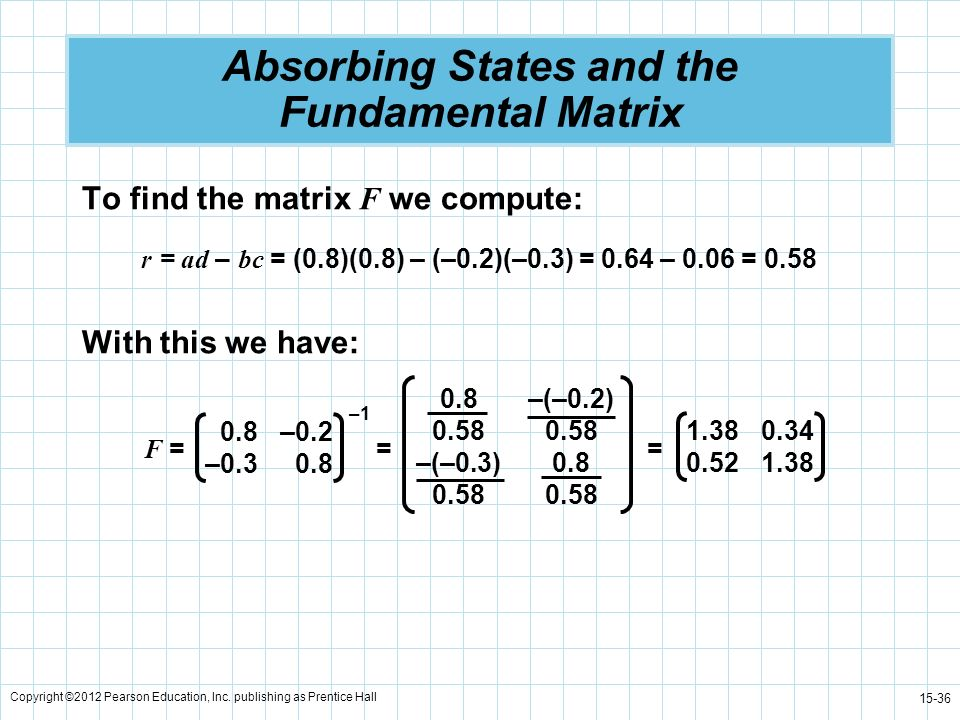 Copyright ©2012 Pearson Education, Inc. publishing as Prentice Hall 15-36 Absorbing States and the Fundamental Matrix To find the matrix F we compute: