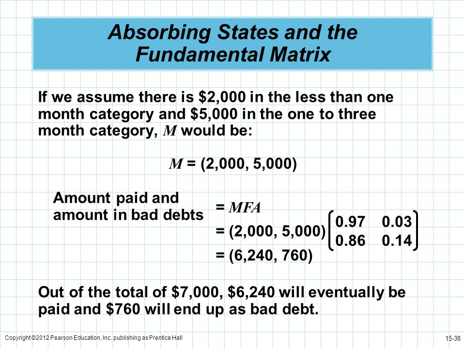 Copyright ©2012 Pearson Education, Inc. publishing as Prentice Hall 15-38 Absorbing States and the Fundamental Matrix If we assume there is $2,000 in