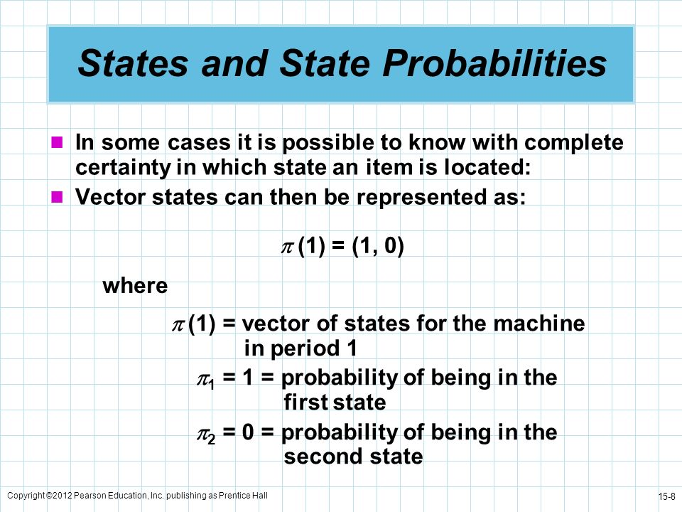 Copyright ©2012 Pearson Education, Inc. publishing as Prentice Hall 15-8 States and State Probabilities In some cases it is possible to know with comp