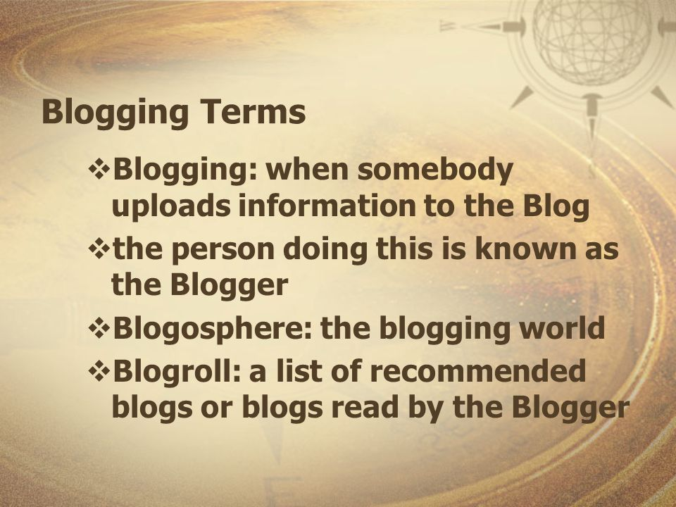Blog Diffusion Bloggers read & link to other blogs Bloggers read old media, AKA Mainstream media (MSM), and include information & links in their blogs Old Media reporters read blogs, then include information in their own stories