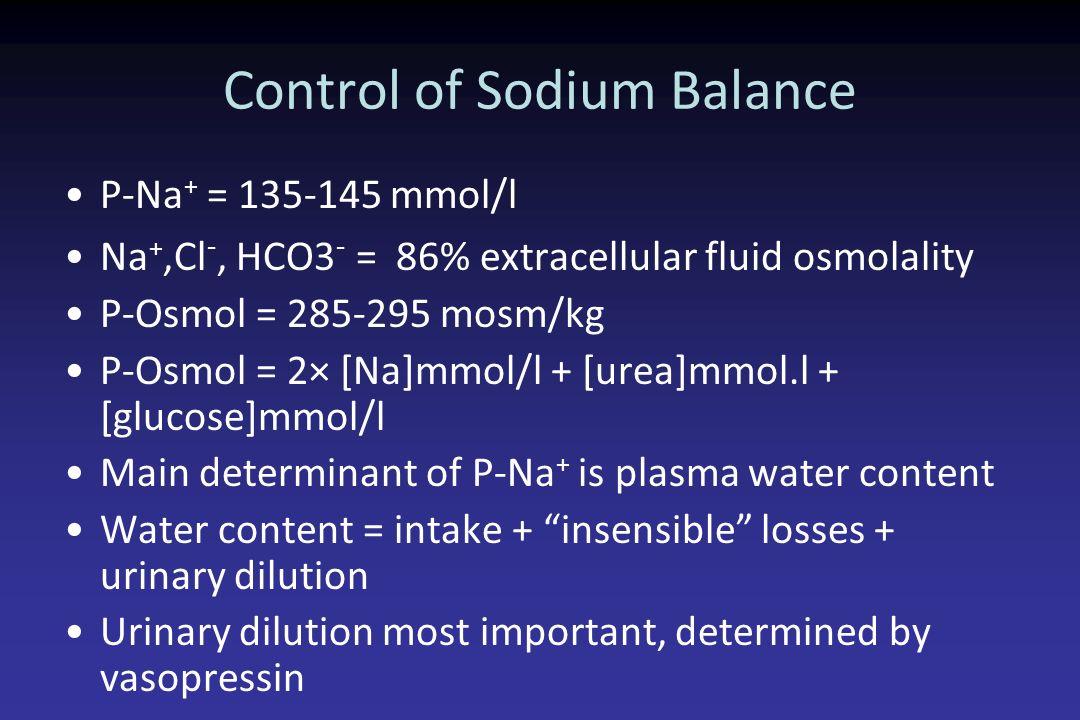 Control of Sodium Balance P-Na + = 135-145 mmol/l Na +,Cl -, HCO3 - = 86% extracellular fluid osmolality P-Osmol = 285-295 mosm/kg P-Osmol = 2× [Na]mm