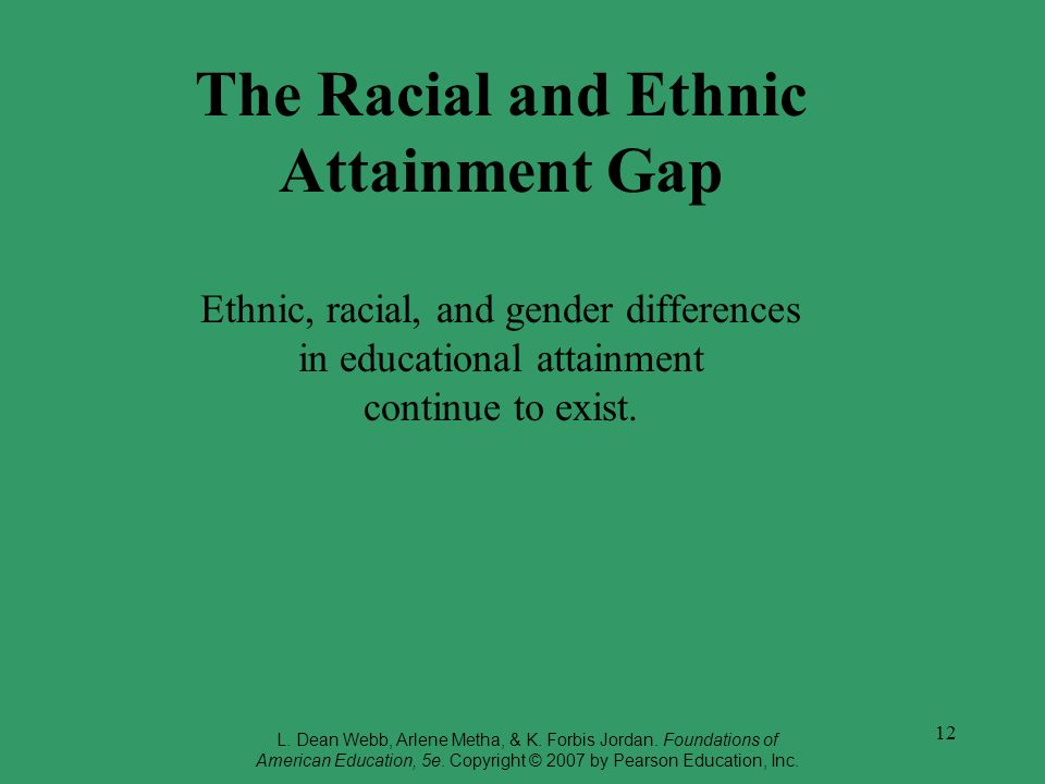 12 The Racial and Ethnic Attainment Gap Ethnic, racial, and gender differences in educational attainment continue to exist. L. Dean Webb, Arlene Metha
