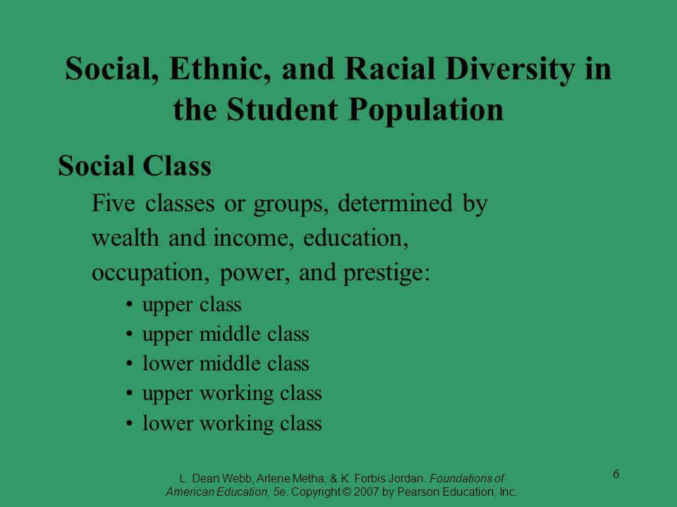 6 Social, Ethnic, and Racial Diversity in the Student Population Social Class Five classes or groups, determined by wealth and income, education, occu