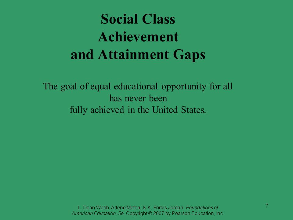 7 Social Class Achievement and Attainment Gaps The goal of equal educational opportunity for all has never been fully achieved in the United States. L