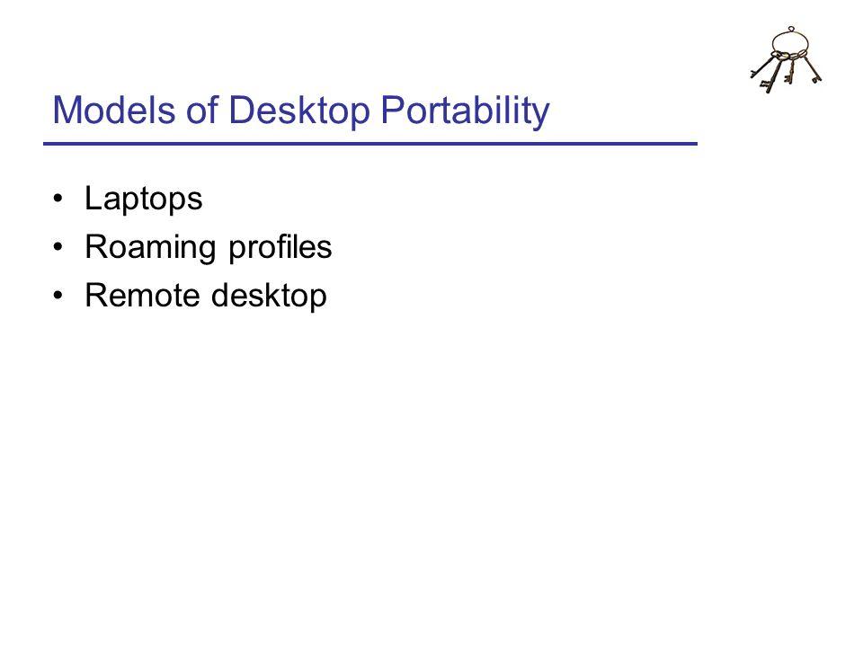 Models of Desktop Portability Laptops Roaming profiles Remote desktop