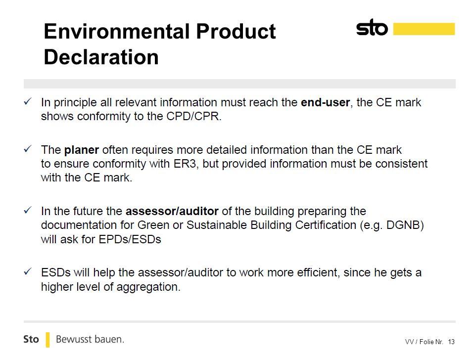 VV / Folie Nr. 13 Environmental Product Declaration