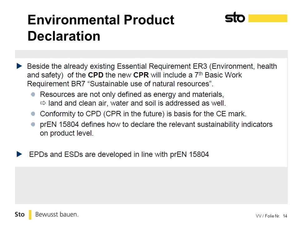 VV / Folie Nr. 14 Environmental Product Declaration