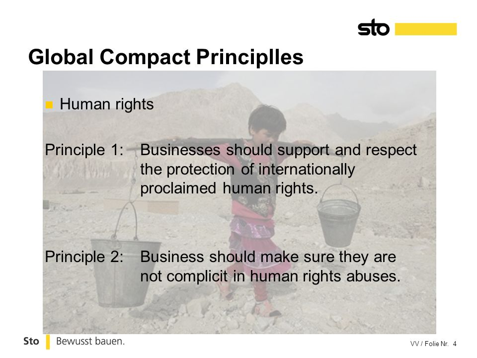 VV / Folie Nr. 4 Human rights Principle 1:Businesses should support and respect the protection of internationally proclaimed human rights. Principle 2