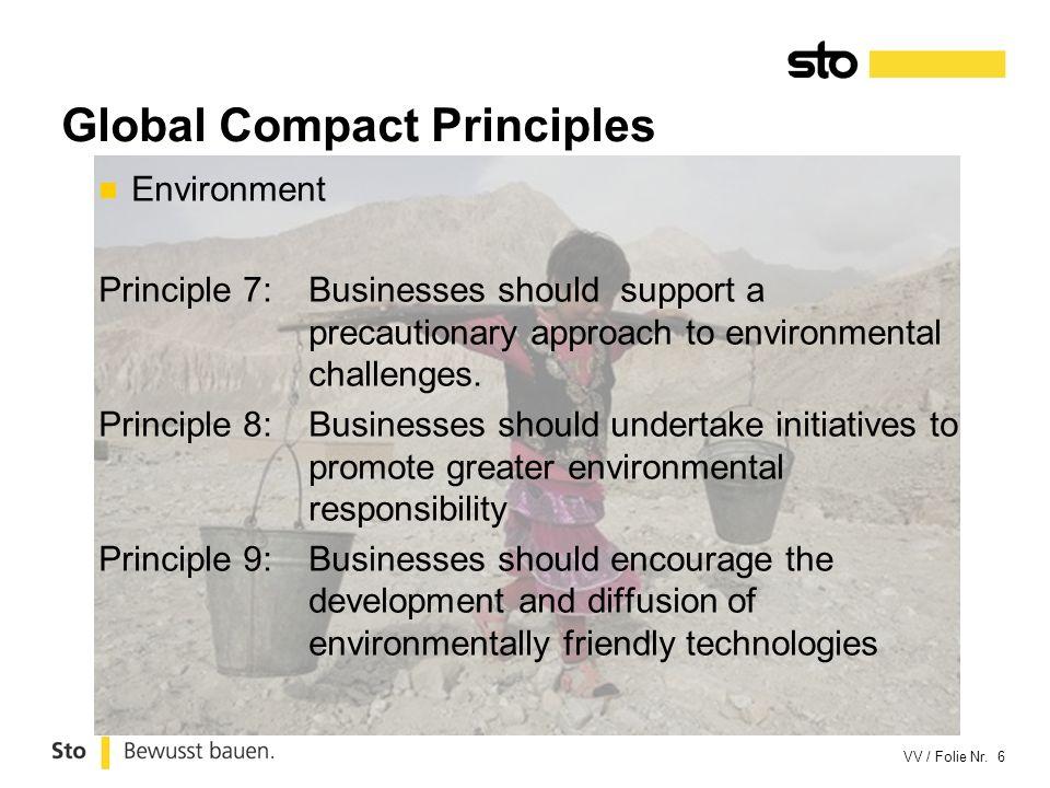 VV / Folie Nr. 6 Environment Principle 7:Businesses should support a precautionary approach to environmental challenges. Principle 8:Businesses should