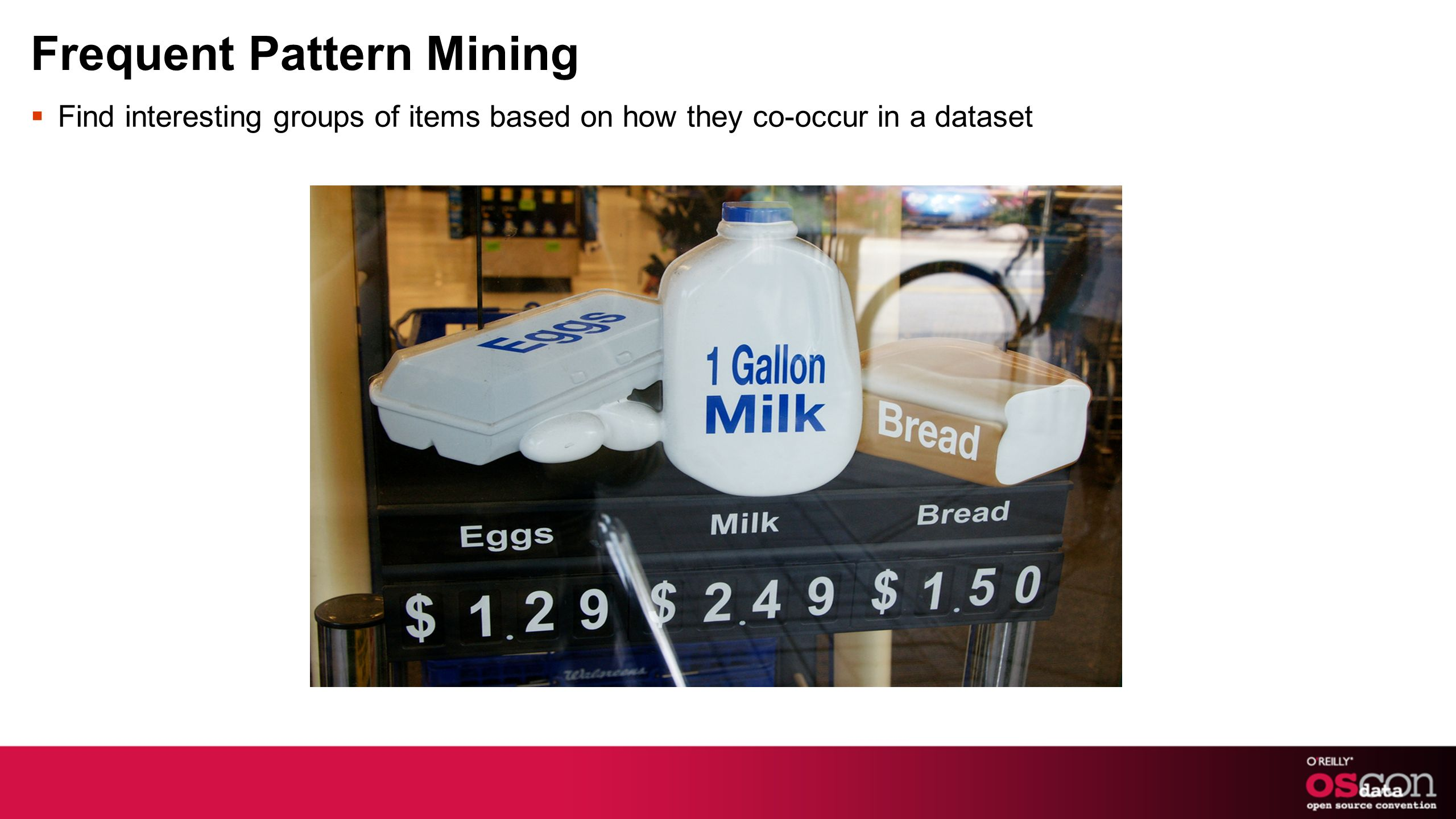Frequent Pattern Mining Find interesting groups of items based on how they co-occur in a dataset