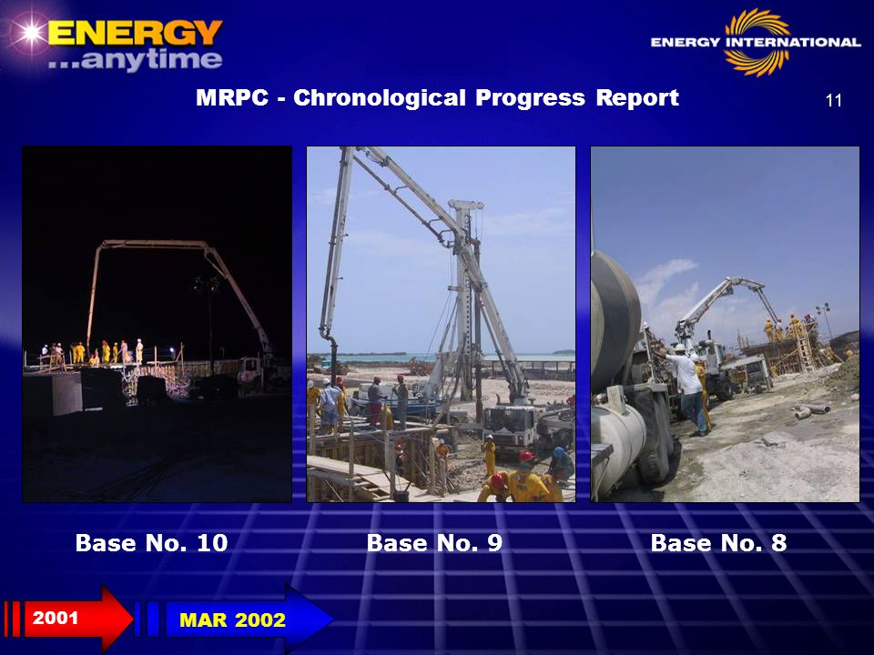 11 Base No. 8Base No. 9Base No. 10 MRPC - Chronological Progress Report 2001 MAR 2002