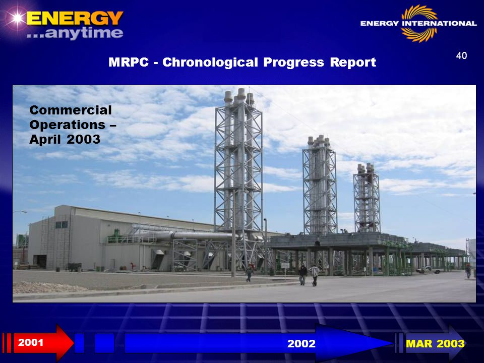 40 2001 2002MAR 2003 MRPC - Chronological Progress Report Commercial Operations – April 2003