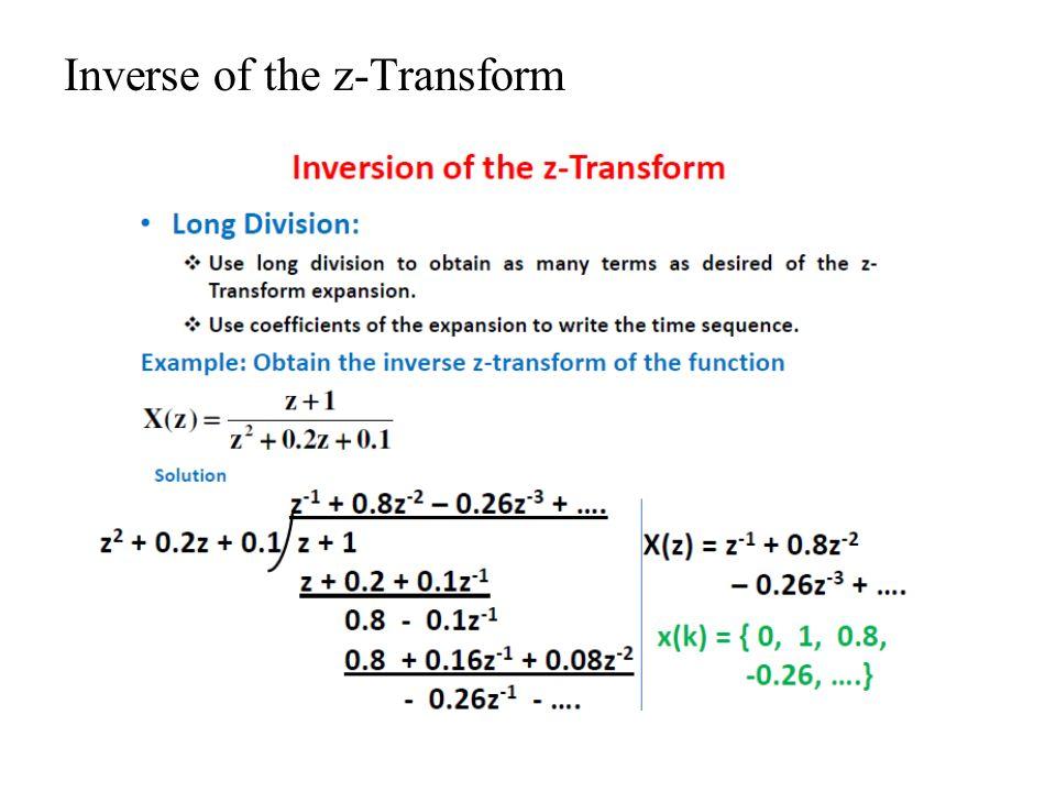 Inverse of the z-Transform
