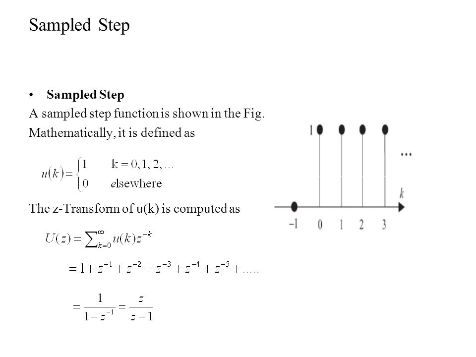 Exponential Exponential: A sampled exponential function is shown in the Fig.