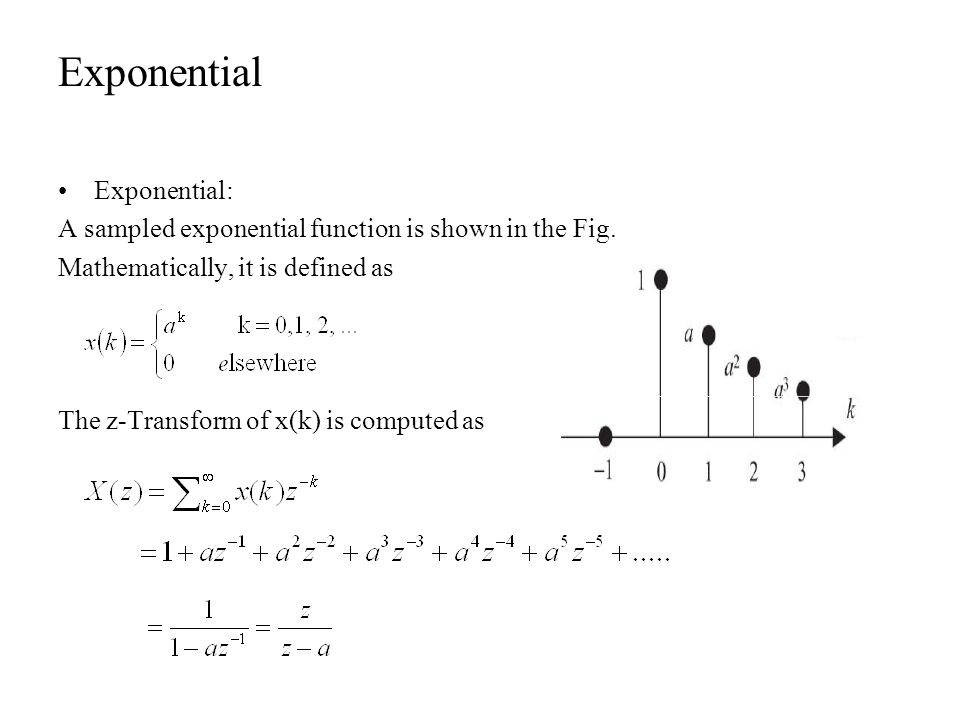 Exponential Exponential: A sampled exponential function is shown in the Fig. Mathematically, it is defined as The z-Transform of x(k) is computed as