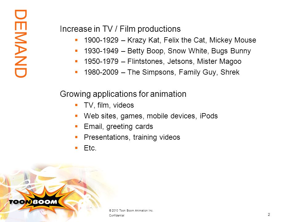 2 © 2010 Toon Boom Animation Inc. Confidential Increase in TV / Film productions 1900-1929 – Krazy Kat, Felix the Cat, Mickey Mouse 1930-1949 – Betty